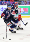 Čtvrtfinále play off hokejové extraligy - 1. zápas: HC Oceláři Třinec - HC Vítkovice Ridera, 20. března 2019 v Třinci. Na snímku (zleva) Radoslav Tybor, Martin Růžička.