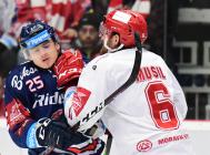 Čtvrtfinále play off hokejové extraligy - 1. zápas: HC Oceláři Třinec - HC Vítkovice Ridera, 20. března 2019 v Třinci. Na snímku (zleva) Patrik Zdráhal, David Musil.