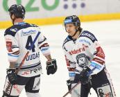 Jesse-Ray Dudas a Alexandre Mallet - 47. kolo HC VÍTKOVICE RIDERA - HC ŠKODA PLZEŇ, 21. února 2020 v Ostravě.