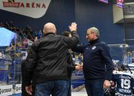 Asistent trenéra Vítkovic Ladislav Svozil a trenér Vítkovic Mojmír Trličík - 41. kolo HC VÍTKOVICE RIDERA - PSG Berani Zlín, 28. ledna 2020 v Ostravě.