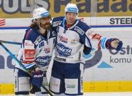 Peter Randy Mueller a Daniel Rákos z Brna - 5. předkolo Generali Česká pojišťovna play off HC VÍTKOVICE RIDERA - HC kometa Brno, 16. března 2021 v Ostravě.