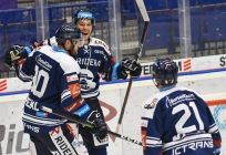 Martin Dočekal, Nicolas Werbik a Alexandre Mallet z Vítkovic - 27. kolo Tipsport Extraligy HC VÍTKOVICE RIDERA - HC Litvínov, 13. prosince 2020 v Ostravě.