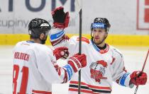 Petr Kolouch a Lukáš Kucsera z HC Olomouc - 38. kolo Tipsport Extraligy HC VÍTKOVICE RIDERA - HC Olomouc, 22. ledna 2021 v Ostravě.