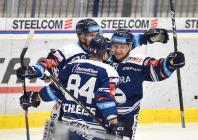 Jan Shleiss, Jan Hruška a Petr Fridrich z Vítkovic - 38. kolo Tipsport Extraligy HC VÍTKOVICE RIDERA - HC Olomouc, 22. ledna 2021 v Ostravě.