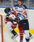 Šimon Groch z HC Olomouc a Robert Flick z Vítkovic - HC VÍTKOVICE RIDERA - HC Olomouc, Letní hokejové hry 2021, 24. srpna 2021 v Ostravě.