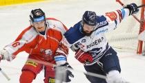 Tomáš Dujsík z HC Olomouc a Rostislav Marosz z Vítkovic - HC VÍTKOVICE RIDERA - HC Olomouc, Letní hokejové hry 2021, 24. srpna 2021 v Ostravě.