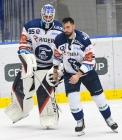 Brankář Vítkovic Aleš Stezka a Petr Gewiese z Vítkovic - HC VÍTKOVICE RIDERA - HC Olomouc, Letní hokejové hry 2021, 24. srpna 2021 v Ostravě.